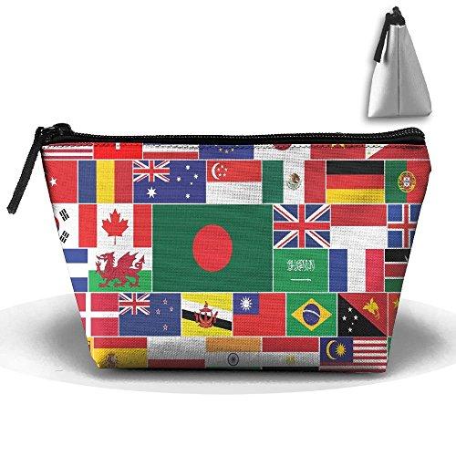 Huitong Shengshi HTSS National Flag Of The World Portable Makeup Receive Bag Storage Large Capacity Bags Hand Travel Wash ()