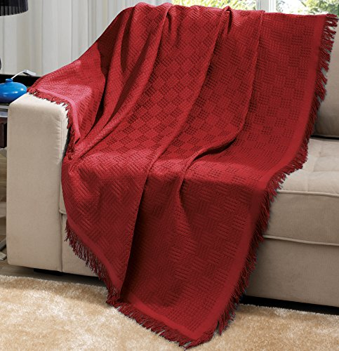 Red Brazilian Cotton London Throw Blanket With Fringe 63x87 Inches … …