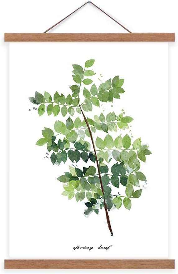 ASENART Canvas Prints Scroll Poster Wall Decorations Artwork Green Leaves Plant Wall Art 16x24 Simple Life Minimalist Tropical Botanical Picture with Teak Wood Hanger for Bathroom Decor