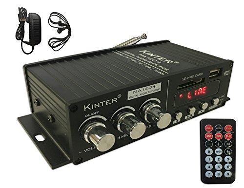 KINTER MA120+ 2-Channel Auto Home Cycle Mini Digital Amplifier USB/MP3/FM Amplifier With Remote Control and Extension Cable with 12V 3A Power Supply Black by Kinter