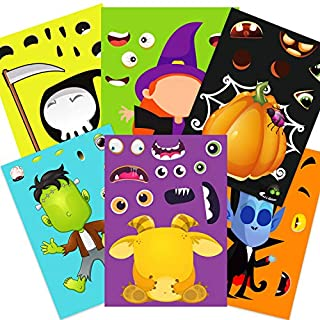 Funnlot Halloween Party Games for Kids,30PCS Halloween Stickers Halloween Activities for Toddlers Make Your Own Stickers Jack-O-Lantern Stickers Make a Face Stickers DIY Halloween Party Favors