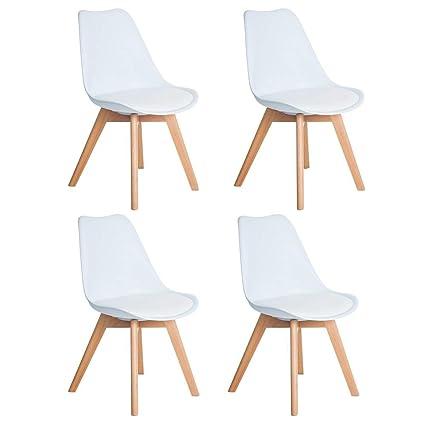 Sedia Design Faggio.Dorafair Set Di 4 Sedia Design Scandinave Sedia Da Pranzo Con Gambe In Faggio Massiccio E Cuscini In Finta Pelle Bianco