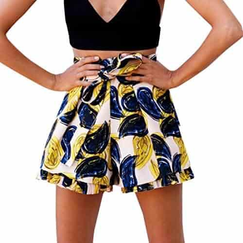 14993204f Shybuy Women Sexy Hot Pants Summer Casual Cat Print Shorts High Waist Short  Beach