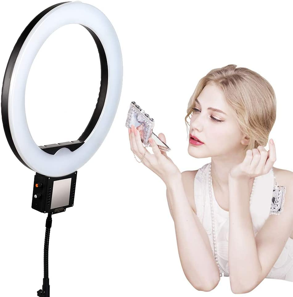 LoMe 12inch 60W led Photography Ring Light lamp Studio dimmable led Ring Light Makeup Mirror for Photo Video 2700K-6000K,White