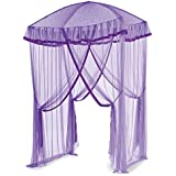HearthSong® Sparkling Lights Hanging Bed Canopy Play Tent with Interior LED Light String – Kid's Bedroom Decor - Fits Twin to Queen Sized Beds - 58 x 50 - Purple