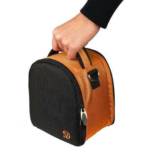 SLR/DSLR Orange Nylon Carrying Bag w/Shoulder Strap, Padded Lightweight Hybrid Designed for Nikon Canon Sony Olympus Kodak Samsung Panasonic Pentax Ricoh Fujifilm Sigma