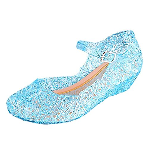 (Youc-us Children's Princess Shoes Cinderella Baby Girls Soft Crystal Plastic Shoes (Toddler/Little Kid) Cosplay Jelly Shoes Blue)