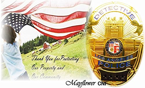 Mayflower CNF Collection - OBSOLETE Gold Detective Badge pin back in a gift box w. Support Tag and Card