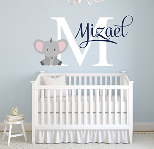 Pinkie Penguin Name Elephant Wall Decal Custom Baby Boy Nursery Decor Personalized Gift Vinyl Art (26″ W x 18″ H)