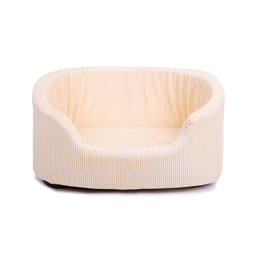 M GYR28656 Soft and comfortable Pet bed Dog bed Pet bed Sleeping bag Pet sofa cushion Cat and small medium-sized dog Best Pet cat dog cave Beige Stripe (One-piece nest) (Size   M)