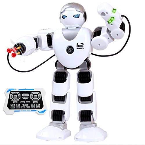 Fistone RC Robot Toy 2.4G Smart Educational Toy for Kids Intelligent Humanoid Toddler Companion Robotics Kit with LED Eyes Walking Shoot Music Dance Arm-Swing