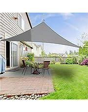 YLA Impermeable Sun Shelter Triángulo Sombrilla Sombrilla de Piscina al Aire Libre Toldo de Vela Acampar Paño, Gris 4x4x4m