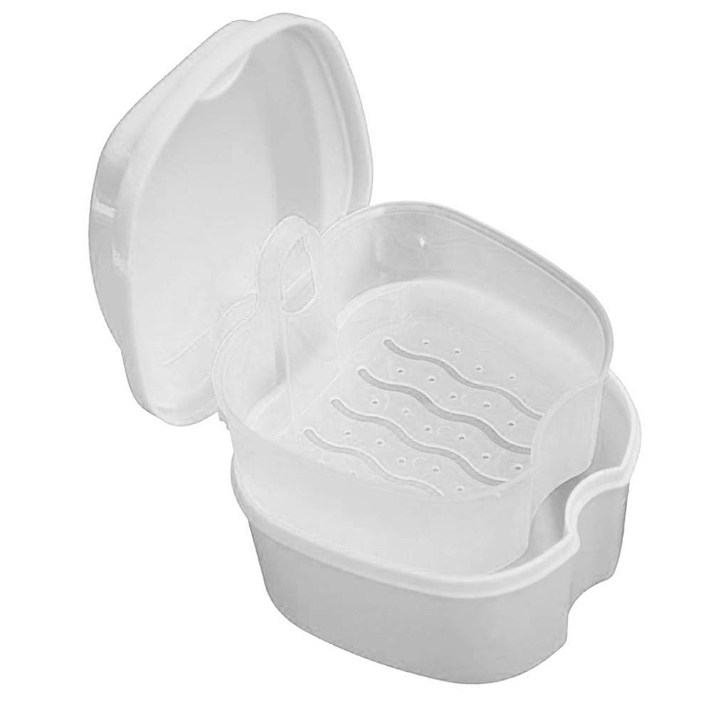 Denture Box, SUKEQ Denture Bath Dental Box Case False Teeth Appliance Cleaning Case Storage with Hanging Net Easy Grip Container