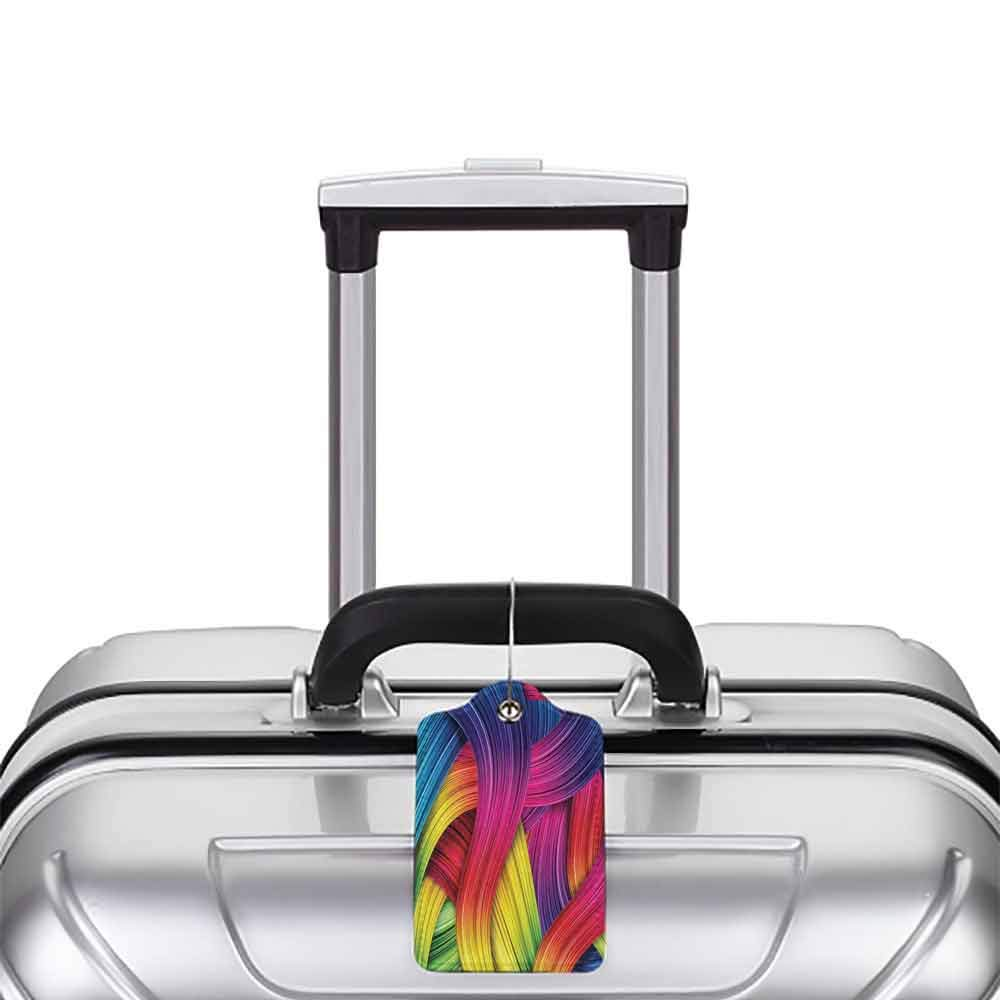 Waterproof luggage tag Abstract Home Decor Collection Colorful Abstract Swirl Wavy Stripe Retro and Summer Sunny Joyful Design Soft to the touch Purple Yellow Pink W2.7 x L4.6