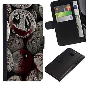 """HTC One M8 , la tarjeta de Crédito Slots PU Funda de cuero Monedero caso cubierta de piel ("""" Halloween Spooky Blood Monster Pumpkin"""")"""
