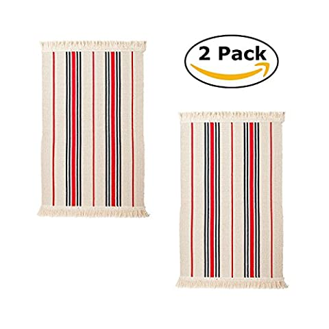 Flatwoven Cotton Kitchen Area Rug with Color Stripes, 22 x 33