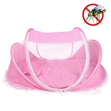 Foldable Baby Infant Pop-up Crib Cradle Anti-Bug Tent Mosquito Net With Mattress Pillow Portable Nursery Bed Crib Canopy Travel Beach Park Play Shades ( Color : Pink )