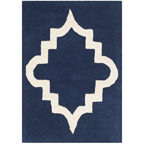 Safavieh Chatham Collection CHT753C Handmade Dark Blue and Ivory Premium Wool Area Rug (3' x 5') by Safavieh