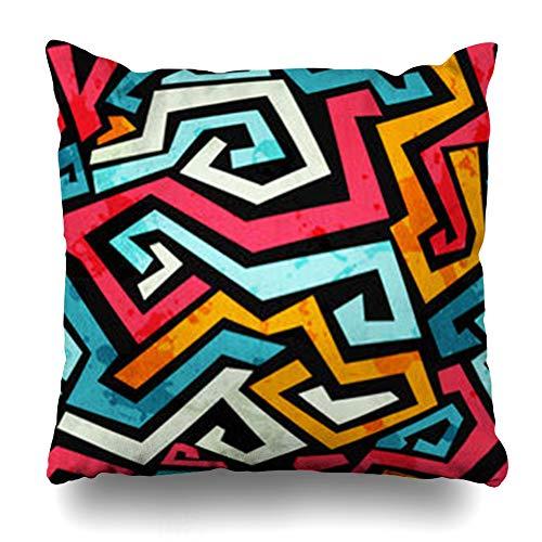 Pandarllin Throw Pillow Covers Text Bright Graffiti Effect Abstract Pattern Art Funky Paint Grafiti Splash Comic Crime Cushion Case Home Decor Sofa Square Size 20 x 20 Inches Pillowcases (The Coral Cape Hop)