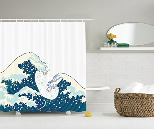 Cheap Ambesonne Ocean Shower Curtain The Great Waves of Kanagawa Decor by, Japanese Illustration Ocean Decor Design Theme, Polyester Fabric Bathroom Set with Hooks, White Navy Cadet Blue