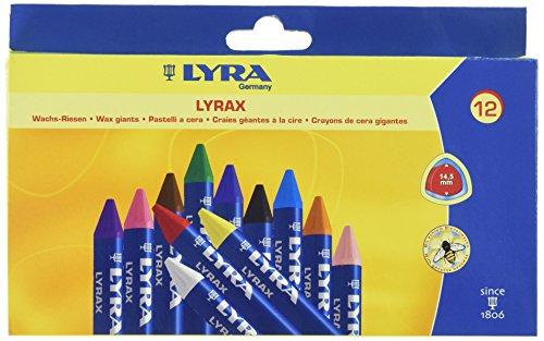 - LYRA LYRAX Wax-Giants Large Triangular Beeswax Crayons, Set of 12 Crayons, Assorted Colors (5701120)