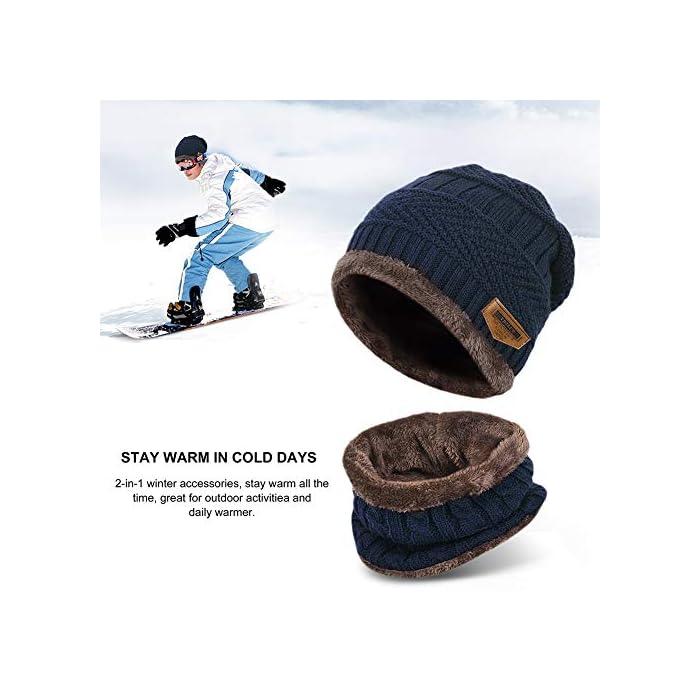 51 jhaEYjML Gorro de punto y bufanda con forro polar grueso y cómodo Tejido fino de punto acrílico Acrylic knit & fleece lining