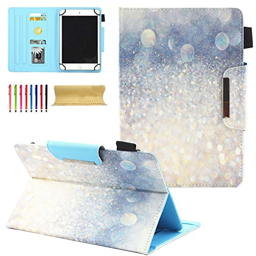 Cookk Universal 7.5-8.5 inch Tablet Case, Stand Flip Wallet Case with Cards/Money Slots Magnetic Buckle Cover for Amazon Fire HD 8,iPad Mini,Kindle, 7.5-8.5 inch Tablet, Glitter Silver Sand