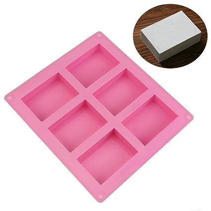 Allforhome (TM) 6 cavidad llanura rectángulo básica jabón DIY molde de silicona molde para