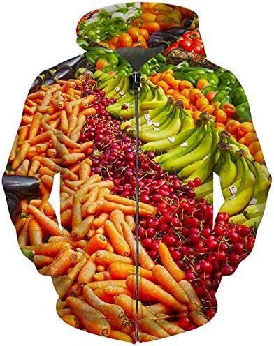 メンズ パーカー 長袖 面白い 果物柄 3Dプリント野菜柄 オシャレ フード付 チャック スポーツウエア ストリートファッション ヒップホップ スウェット 男女兼用 春秋冬服 大きいサイズ