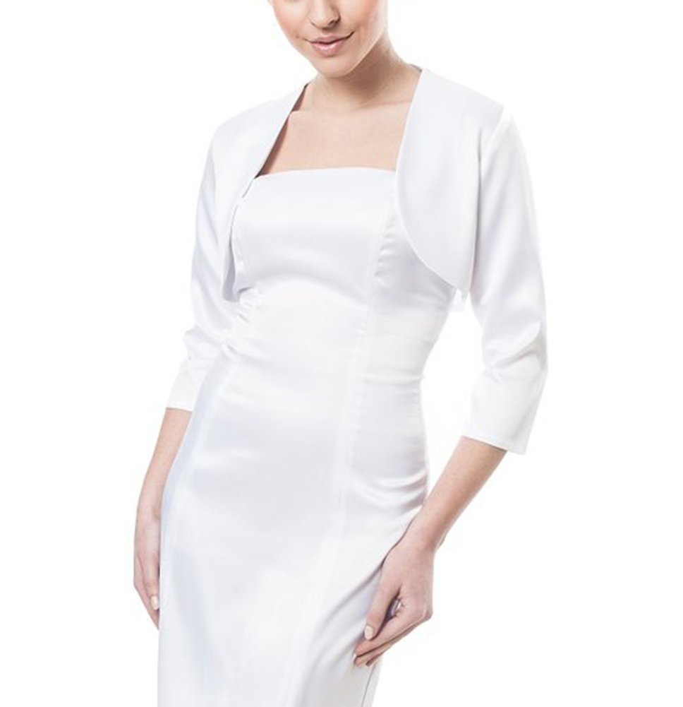 Dobelove Women's 3/4 Sleeves Satin Bolero Shrug Jacket (S, White)