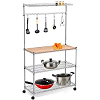 Yaheetech 3 Shelf Metal Bakers Racks for Kitchens with Storage Hanging Shelf and Wood Cutting Board Space Saving Coffee Workstation