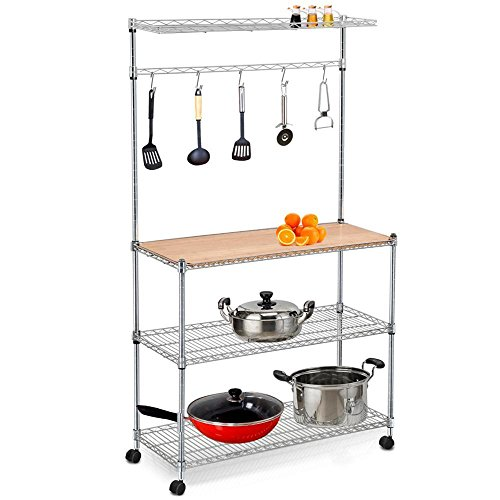 Yaheetech 4 Tier Stainless Steel Metal Wire Kitchen Bakers Rack Kitchen Workstation Storage Shelf Carts Hanging Pot Rack and Cutting Board on Wheels