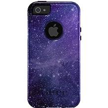 CUSTOM Black OtterBox Commuter Series Case for Apple iPhone 5 / 5S - Purple Black White Stars Nebula