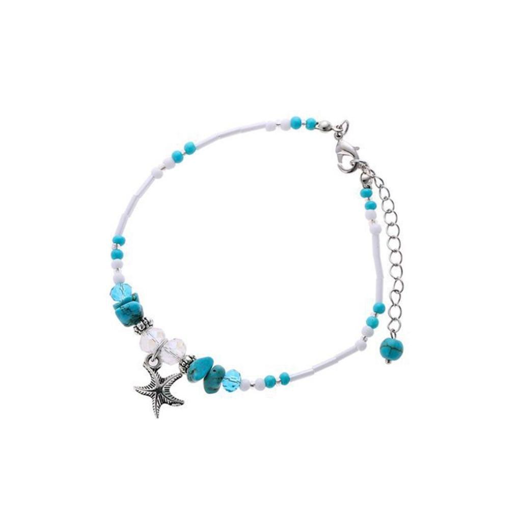 Cinnamou Tobilleras Mujer de Turquoise Playa, Sandalia, Descalzo,Estrella
