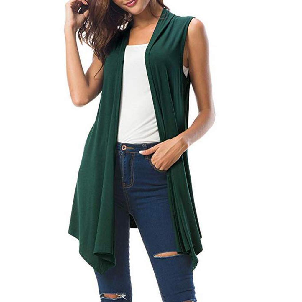 Hot! 2019 Women's Sleeveless Draped Short Sleeves Vest Asymmetrical Hem Top Blouse