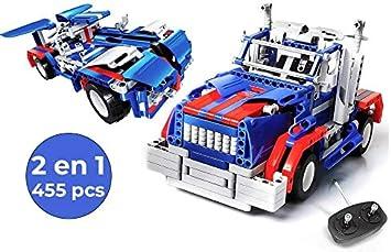 Kit Camión Coche Teledirigido para Montar RC Juego de Construcción 2 en 1 | Construcciones con Motor y Mando Control Remoto | Juguete para Niños Radiocontrol - 455 Pcs