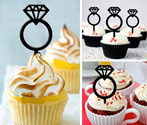 Acrylic Glitter Ring - Acrylic Cupcake Toppers 8pcs/set, KOOTIPS Wedding Black Acrylic Diamond Ring Twinkle DIY Glitter Mini Birthday Cake Snack Decorations Picks Suppliers Party Accessories for Wedding
