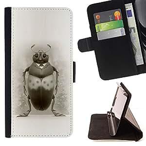 BullDog Case - FOR/Samsung Galaxy S5 Mini, SM-G800 / - / BUG ART DRAWING BEETLE PENCIL BLACK WHITE /- Monedero de cuero de la PU Llevar cubierta de la caja con el ID Credit Card Slots Flip funda de cuer