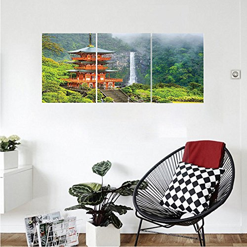 Far Eastern Decor (Liguo88 Custom canvas Home Decor Collection Far Eastern Temple Surrounding Trees and Fall Foggy Mystical Asian Scene Zen Wall Picture Bedroom Living Room Wall Hanging Green Red)
