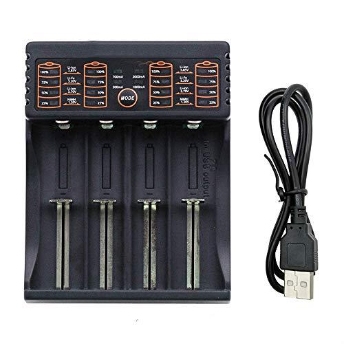 QETU Cargador De Batería De Litio Multifunción De 4 Ranuras, Cargador 186A 26650 AA AAA