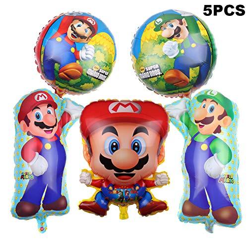 Super Mario Balloons (Bsstr Super Mario Bros Foil Balloon - Set of 5 Super Mario Brothers Foil Mylar Balloons Birthday Party)