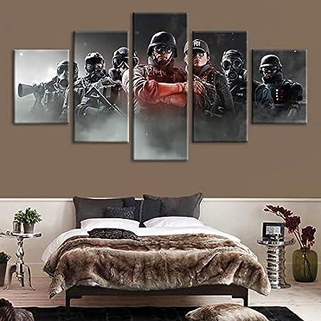 Decoración del hogar HD Impresiones 5 Panel Rainbow Six ...