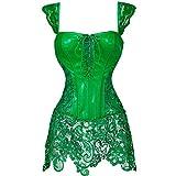 MISS MOLY Faux Leather Corset Vest Plus Size Lingerie Buckle Lacing Steel Boned Green Corse Dress 5XL