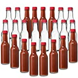 premium hot sauce - 24 Pack - 5 Oz Hot Sauce Bottles, Small Empty Glass Bottles with RED Caps and Drip Dispensing Tops for Salsa, Pepper, Vinegar, Hot Sauce, Pepper Sauce, By Premium Vials