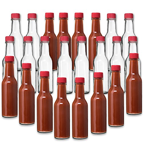 (24 Pack - 5 Oz Hot Sauce Bottles, Small Empty Glass Bottles with RED Caps and Drip Dispensing Tops for Salsa, Pepper, Vinegar, Hot Sauce, Pepper Sauce, By Premium Vials)