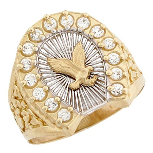 10k Two Tone Solid Gold Eagle Filigree Lucky Horseshoe CZ Mens Ring (10k Eagle Ring)