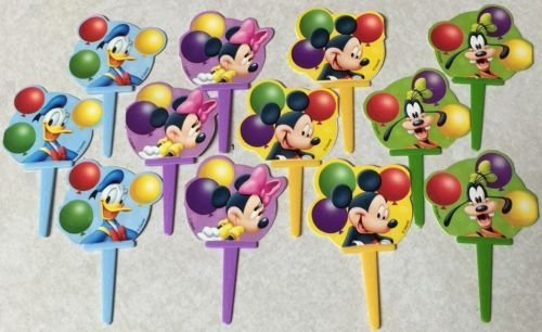 LoonBalloon MICKEY MINNIE Mouse GOOFY DONALD (12) Party CUPCAKE Topper Decoration Picks PICS (Minnie Mouse Pics)