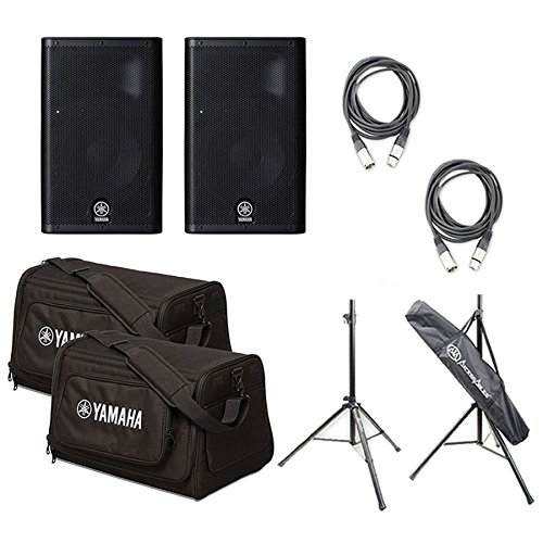 Yamaha DXR8 8' 1100W 2-Way Active Loudspeaker (Pair) with AxcessAbles SSB-101 Speaker Stands, 2 AxcessAbles XLR-XLR20 and 2 Yamaha DXR8 Bag - Active 8' 2 Way