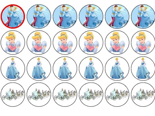 24 Cinderella Cupcake Toppers