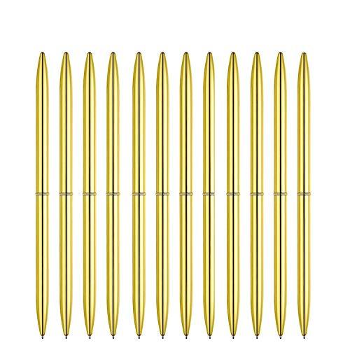 12 Pieces Ballpoint Pens Lightweight Black Ink Metal Pens for Men Women Business Gift (Gold) ()